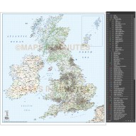 British Isles 1st level Political Road & Rail map @1,000,000 with inset map of the Northern Isles