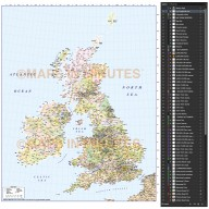 5,000,000 scale British Isles 1st level Political County Road map