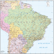 Digital vector Brazil Deluxe Country Road & Rail Map showing all detail, Illustrator CS format.