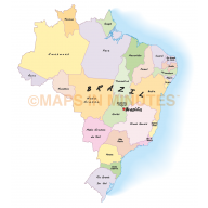 Vector Brazil map with first level divisions in Illustrator and PDF formats. Showing multi-colour fills