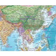 """CANVAS World Map Framed Political & Ocean contour relief Bold fonts and colouring - Size 60""""w x 38""""d"""
