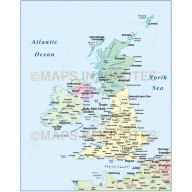 Digital vector British Isles UK map, Simple EZRead Country level @4,000,000 scale in Illustrator and PDF formats