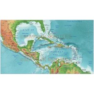 Digital vector Caribbean relief map @10m scale showing land and ocean floor relief