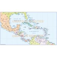 Central America Large Political Map in editable Illustrator CS format