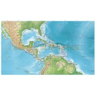 Central America & Caribbean relief map @10m scale showing land and ocean floor terrain, Illustrator CS formats.
