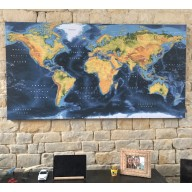 Dark style Framed Canvas Physical Relief World Map South America detail. Large size 72 inches wide x 38 inches deep
