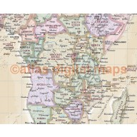 World Wall Map Antique-style Cream Vinyl 60 inches wide x 38 inches deep