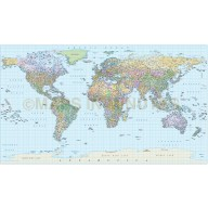 Digital vector World map in Equirectangular projection showing 1 degree graticules, large scale in Illustrator format