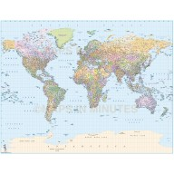 Digital vector map, Gall projection World map, political with layered population by size. Illustrator CS formats