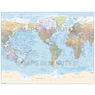Digital vector map, Gall World Map with insets and ocean floor contours. Illustrator CS formats