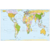 Digital vector world map in Gall Orthographic projection main area. Fully layered, editable and royalty free