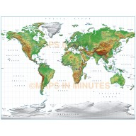 Digital vector World relief Map, Gall Projection in medium land colours, UK-centric,  royalty free in Iliustrator format.