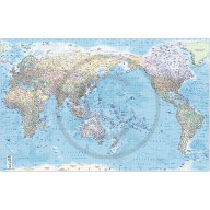 """CANVAS World Map Framed Political & Ocean contour relief Pacific-centric - Size 60""""w x 38""""d"""