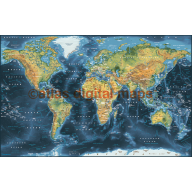 Push Pin World Travel Map NAVY BLUE Decor Canvas - Physical & Political Large 140cmx90cm World