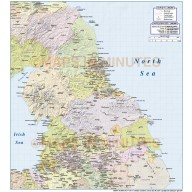 Digital vector North England Map detail with shaded relief layer on