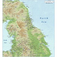 North England County map plus Medium colour relief @1m scale