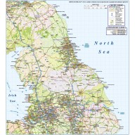 North England County Road & Rail map @1,000,000M scale