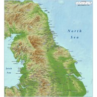 North England County map plus Strong colour relief @1m scale