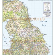 North England County Road & Rail map @750,000 scale