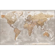 "Framed CANVAS Antique-style Stone World Map - Size 60""w x 38""d."
