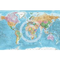 "Framed CANVAS Political Relief World Map - Size 60""w x 38""d"