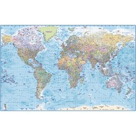 "Framed CANVAS World Map Political & Ocean contour relief - Size 60""w x 38""d"