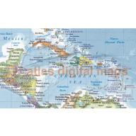 "CANVAS World Map Framed Political & Ocean contour relief Medium colouring - Size 60""w x 38""d"