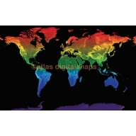 "Rainbow World Map Stretched Canvas Physical relief for Home Decor - Size 60""w x 38""d"