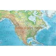 Framed Canvas Physical Relief World Wall Map, high detail, very educational. 60 inches wide x 38 inches deep
