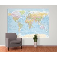 World Political Wall Mural - Large size 2 Piece Map