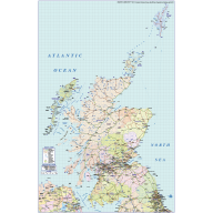 Scotland Regions Road & Rail Map @1,000,000 scale
