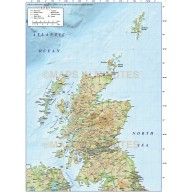 Vector Scotland Regions Road Map with high resolution Regular relief