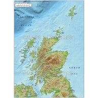 5m scale Scotland Regions map with high res strong colour relief