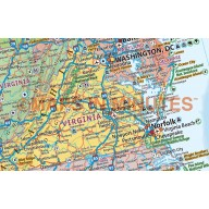 Pinboard Pushpin United States of America Wall Map Canvas - Political and Relief style 140cm wide x 100cm deep. Canvas US Map stretched.