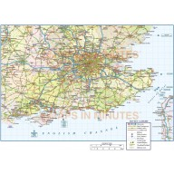 Vector south east england map with roads and railways at 1m scale