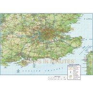 Vector South East England map. County Political Road and Rail Map with High Res Regular relief