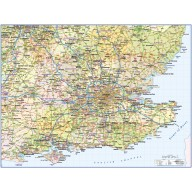 South East England Poster Map. County Political Road and Rail Map. Based on Ordnance Survey data, this is a high quality, up-to-date low cost map.