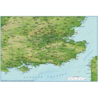 Digital vector South East England County map with Strong relief @1:1,000,000 scale