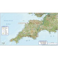 South West England County Road & Rail Map plus Regular relief @750k scale