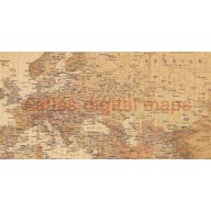World Wall Map Print, Tan Antique-style Rolled Canvas, Large size 60 inches wide x 38 inches deep