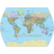 Vector World map in Times Projection Political (UK) @10M scale