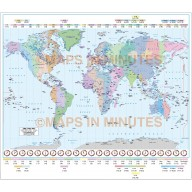 Gall Projection World Time Zones Map with Capital cities @ 10M scale