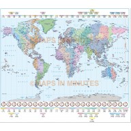 Digital Vector Map of the World Time zones in illustrator, royalty free.