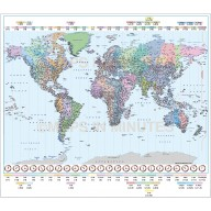 Digital Vector Map of the World Time zones in illustrator, Royalty free,