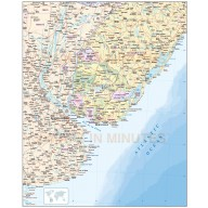 Uruguay digital vector map, political, road & rail plus land and sea contours.