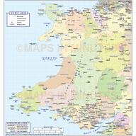 Wales Basic County map @1m scale
