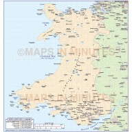 1m scale Wales Basic Country Map