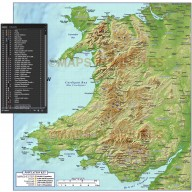 Wales 1st level Political Map with High Resolution Strong relief