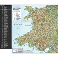 Wales 1st level Political Road and Rail Map with Regular colour relief 500k scale