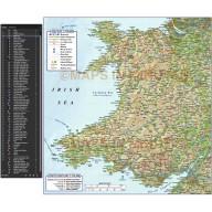 Wales 1st level Political Road & Rail Map plus Regular relief @750k